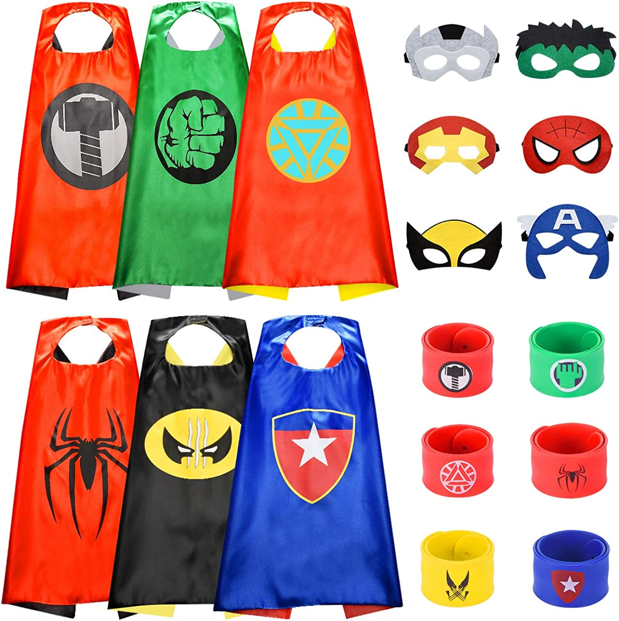 Tesoky Toys for 3-10 Year Old Boys, Superhero Capes for Kids Superhero Costume Include Capes, Masks and Wristbands