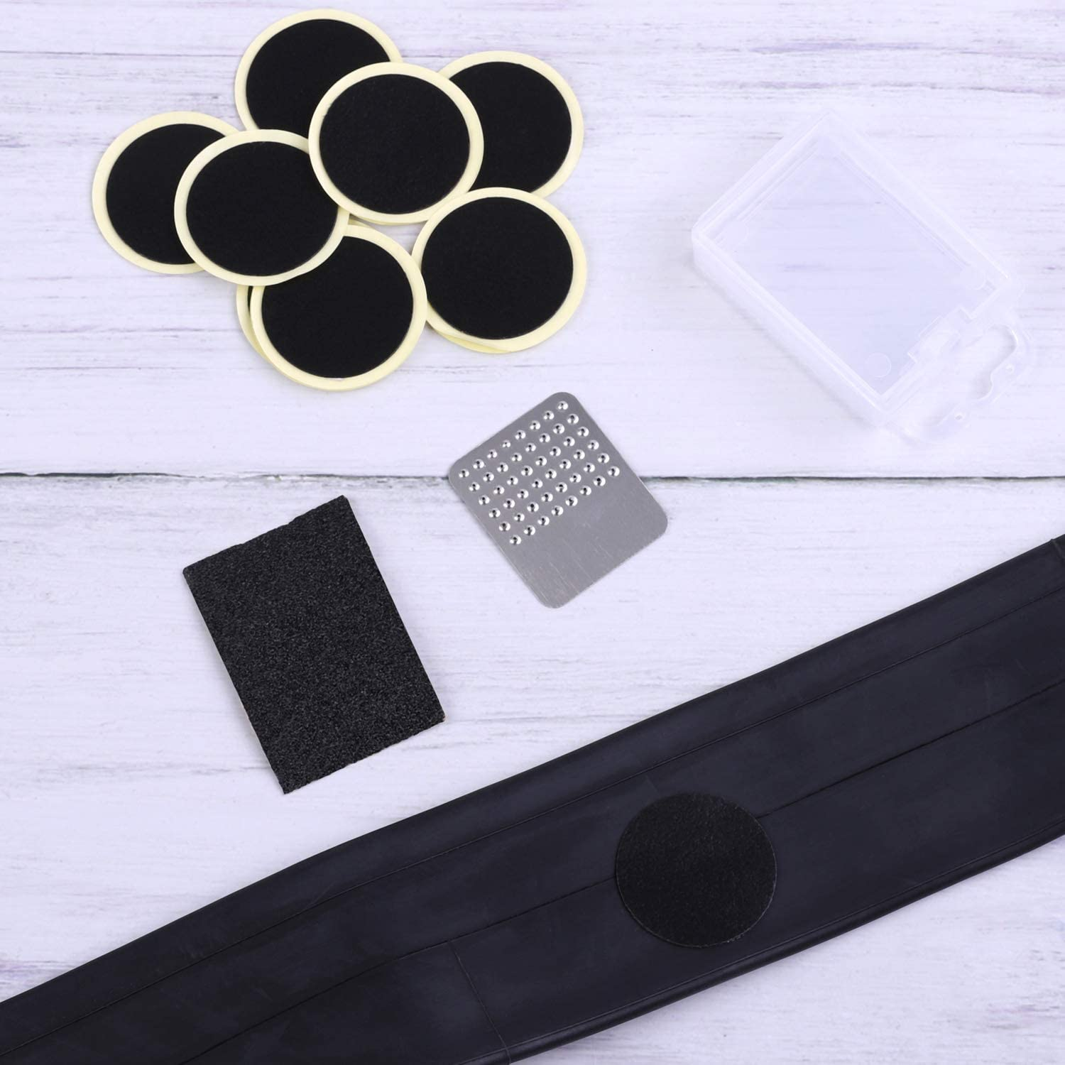 Ruisita 12 Pieces Self Adhesive Bike Puncture Repair Patches Repair Kits Includes Bicycle Tube Patches Polished Metal Sand Paper with Portable Case for Bike Inner Tube Repairing