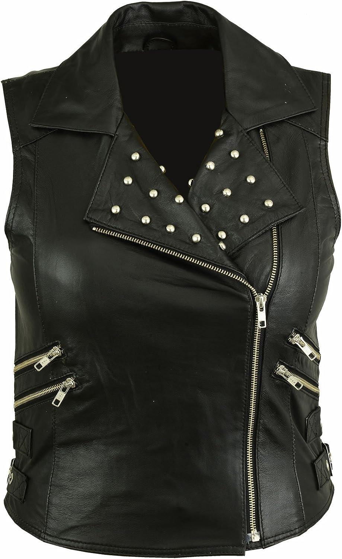Chaleco de piel suave para mujer, color negro, LV-6001