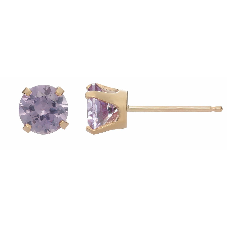 5MM Round Gemstone 10K Yellow Gold Stud Earrings