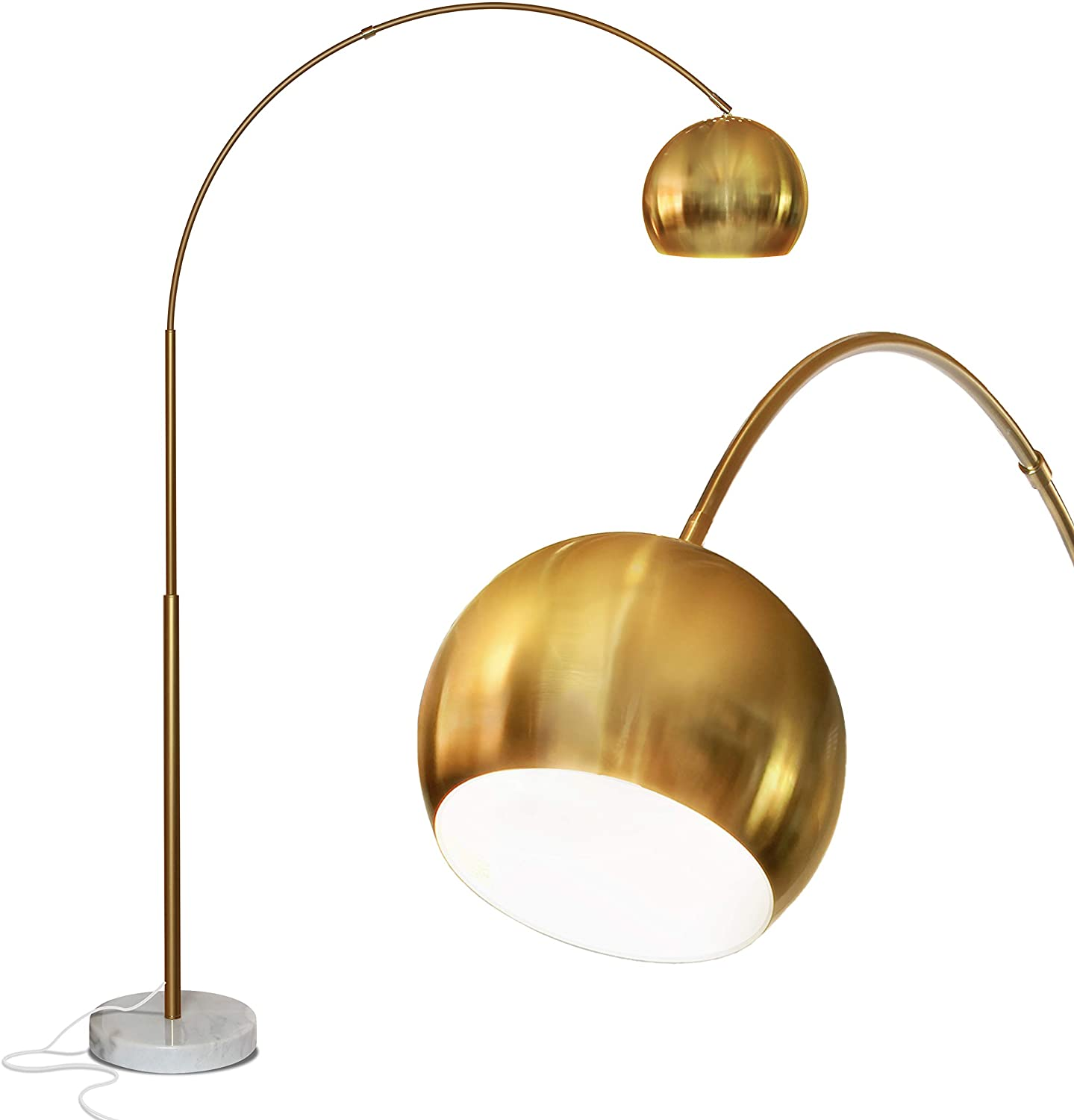 Amazon Com Brightech Olivia Over The Couch Arc Floor Lamp With Globe Shade Matches Your Living Room Decor Standing Light For Bedroom Office Tall Gold Aka Brass Lighting Home Improvement