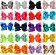 """CN Boutique Grosgrain Ribbon Girls Solid 4"""" Hair Bows for Baby Girls Pack of 20"""