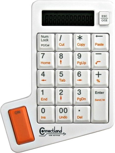Connectland CL-KBD50005 - Teclado numérico USB con calculadora, Color Blanco
