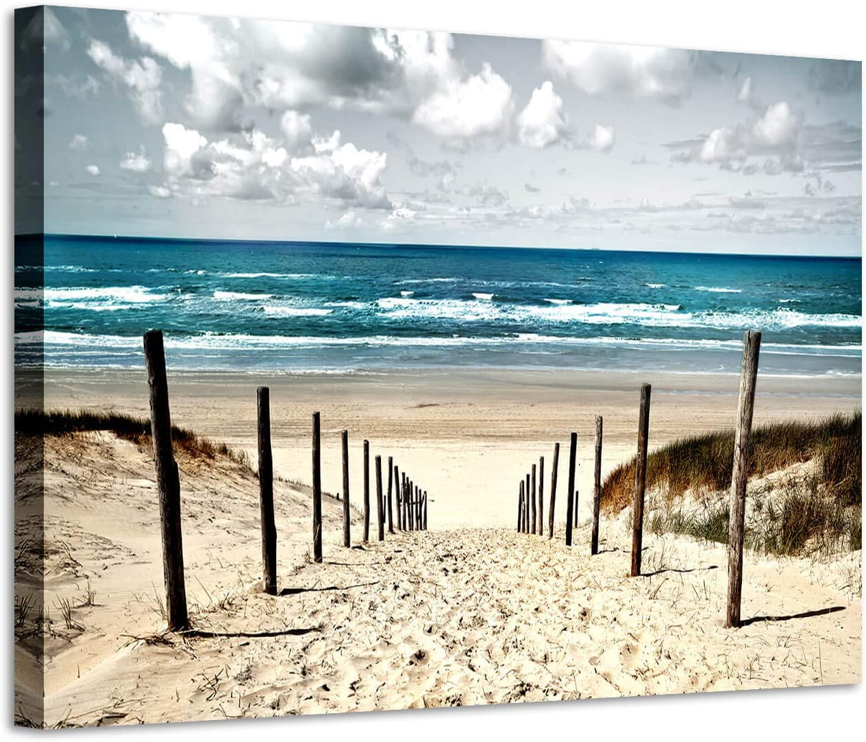 "Beach Artwork Coastal Wall Art: Seascape Picture Shoreline Path Painting on Canvas for Bathroom (36"" x 24"" x 1 Panel)"