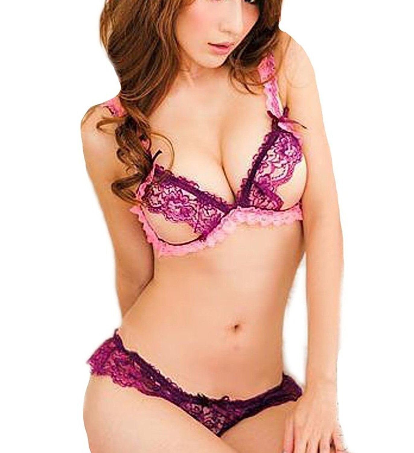 Rene Rofe Womens 2 Piece Lace Peek A Boo Bra and Crotchless Panty Set RENL0 532008