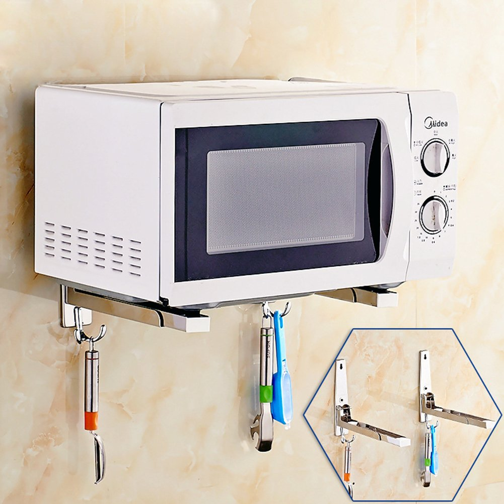 Plegable Plateado 201 Normal Estante de Cocina de Pared Flexible Soporte retr/áctil Ajustable ZAK168 Estante de Acero Inoxidable para Horno microondas versi/ón Gruesa