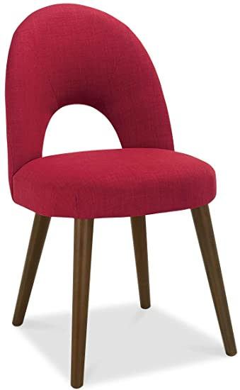 Bentley Oslo Walnut Red Fabric Upholstered Dining Chair Amazonco