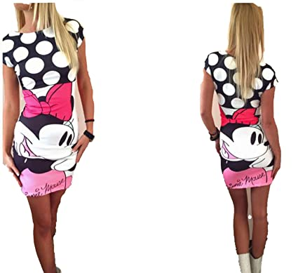 TheUniqueHouse Mini Cartoon Dress Female Casual Sexy Miki Plus Size Dresses Party Short Vestidos,S