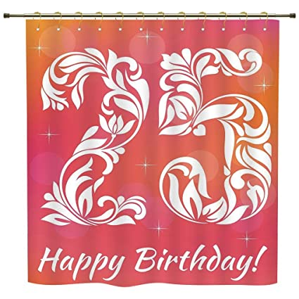 IPrint Shower Curtain,25th Birthday Decorations,Font With Leaves Flowers  Hearts Number Twenty Five
