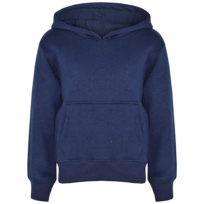 43a287ac1cf Kids Girls Boys Sweat Shirt Tops Plain Navy Hooded Jumpers Hoodies Age 2-13  Year  Amazon.ca  Clothing   Accessories