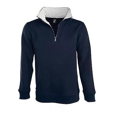 8481b9a0827 SOLS Mens Scott Zip Neck Sweatshirt (L) (French Navy)  Amazon.co.uk ...