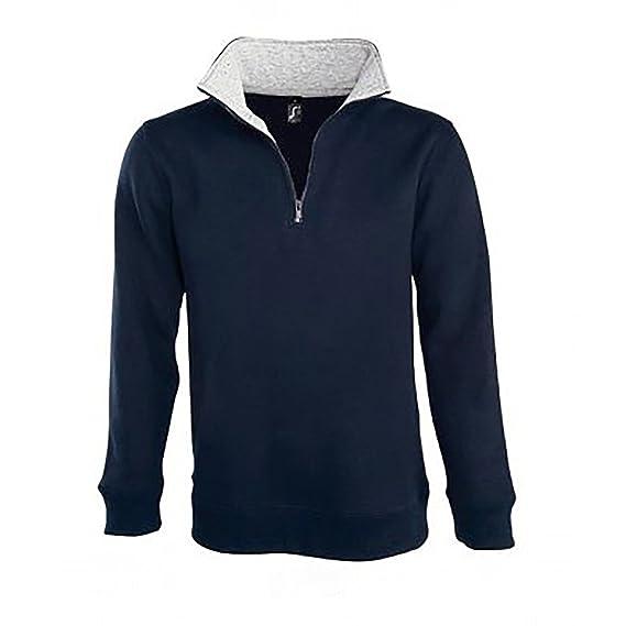 comment trouver la moitié belle qualité SOLS Scott - Sweat-shirt à col zippé - Homme (L) (Bleu ...