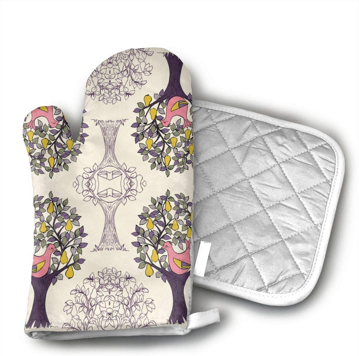 TUJABZA71 Partridge in A Pear Tree 2 Oven Gloves, Smart Home, Long, Mittens, Heat Resistant, Extra Thick, Quilted