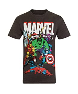 Marvel Comics Official Gift Mens Character T-Shirt Iron Man Thor Charcoal Large
