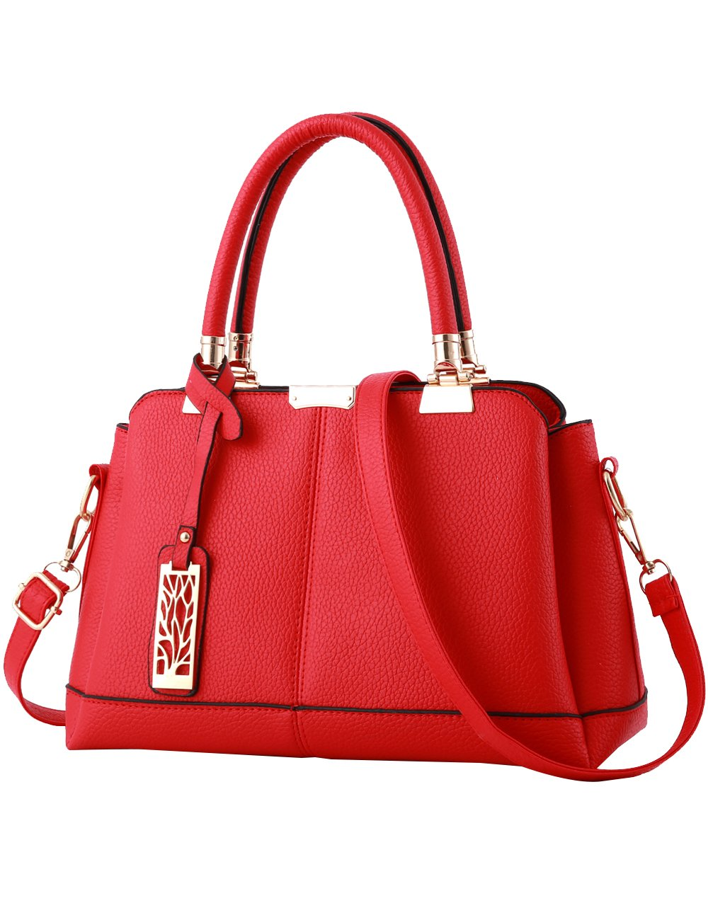 Womens PU Cross-body Hand Handle Bags Shoulder Bags Red by CUKKE (Image #1)