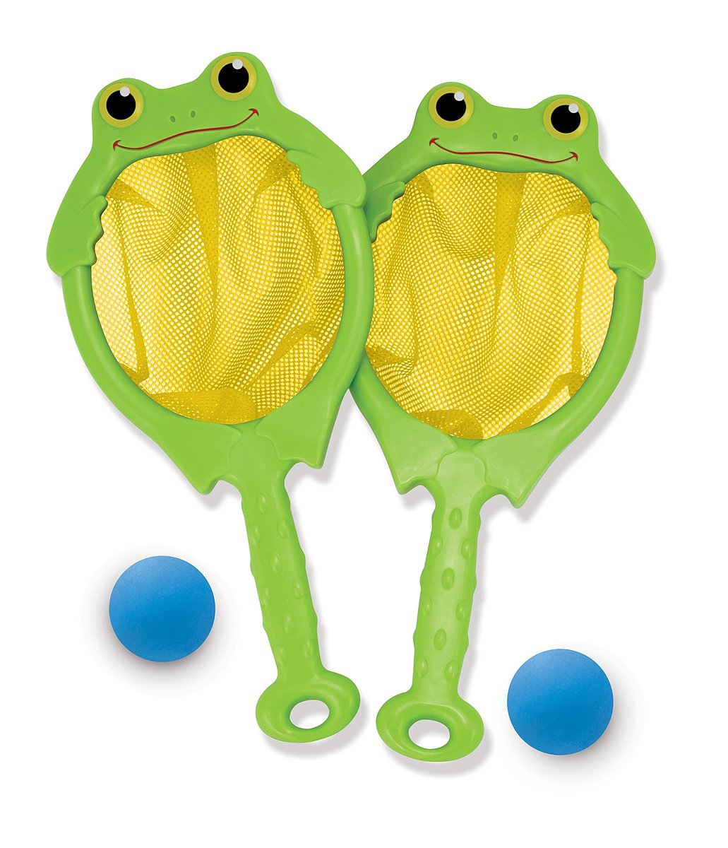 Melissa & Doug Sunny Patch Froggy Toss and Catch Net Game With 2 Balls