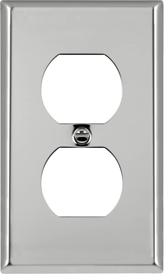 ENERLITES Duplex Receptacle Metal Wall Plate 7721-BB UL Listed Size 1-Gang 4.50 x 2.76 Corrosion Resistant 302 Brushed Brass Stainless Steel Outlet Cover Gold