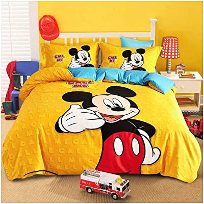 Peachy Baby Featuring Disney Mickey Mouse Bedding Sheet Set Single Queen Twin Double Full Size 【Free Express Shipping】 【100% Cotton】 Cool Cartoon 3 and 4 Pieces Bed Sheets (Queen/Double/Full Size): Home & Kitchen