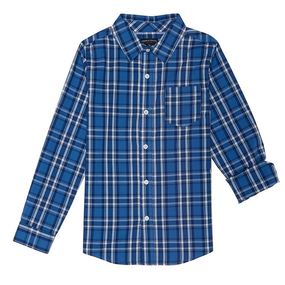 French Toast Boys' Big Long Sleeve Woven Yarn-dye Shirt, Cloud Burst Blue, 16