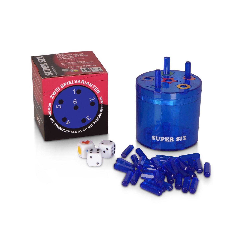 BestSaller 3016 SUPER SIX Kunststoff, beidseitig bespielbar – auch für Kinder, 36 Stäbchen, 3 Würfel, blau (1 Stück) 36 Stäbchen 3 Würfel blau (1 Stück)