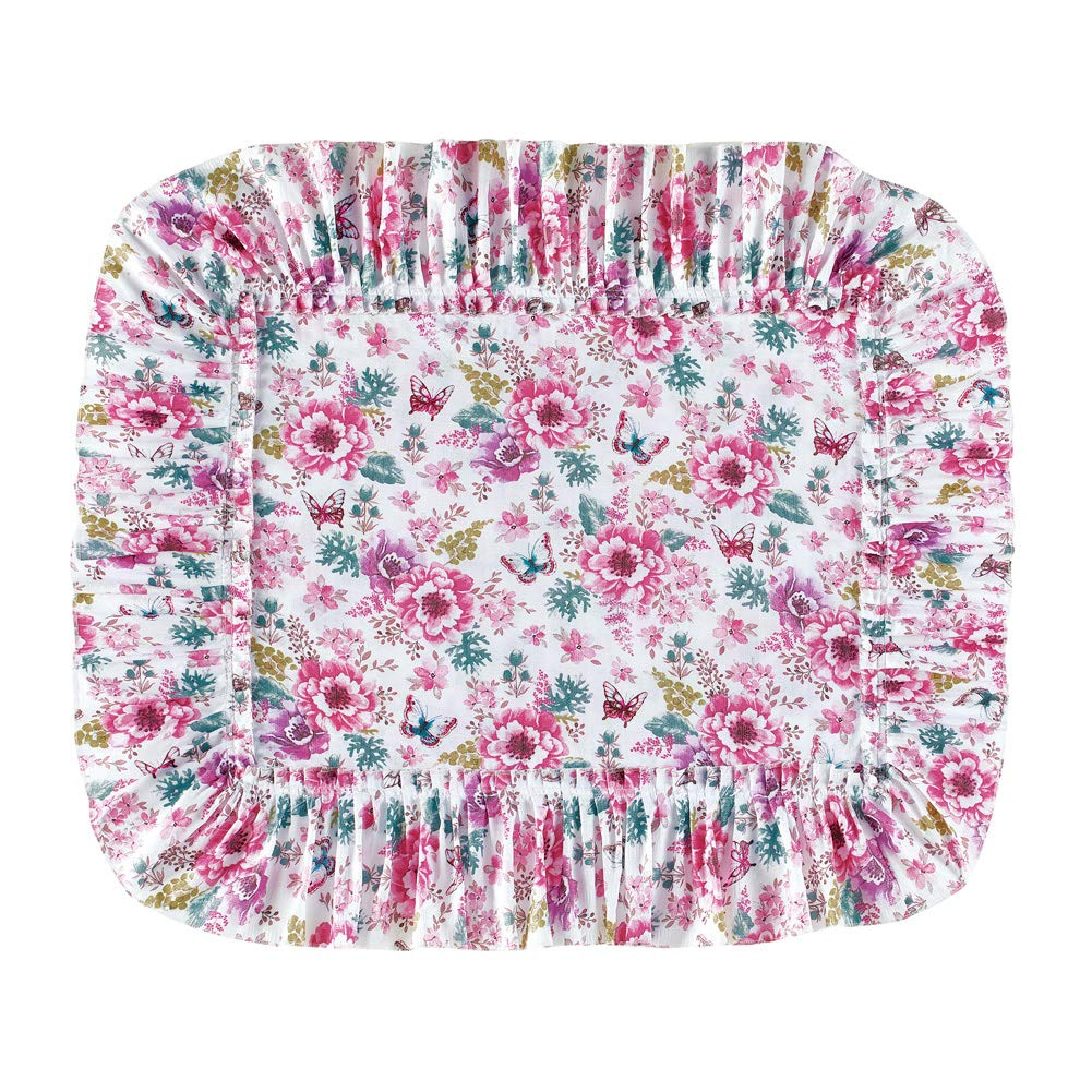 Collections Etc Emily Plisse Pink Floral Ruffled Pillow Shams with Greenery Accents - Bright Bedroom Décor, Pink, Sham