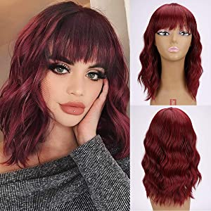Synthetic Short Wigs with Bangs Nature wavy Bob Wig Light Reddish Short Wig for Women Heat Resistant Wig Extensions