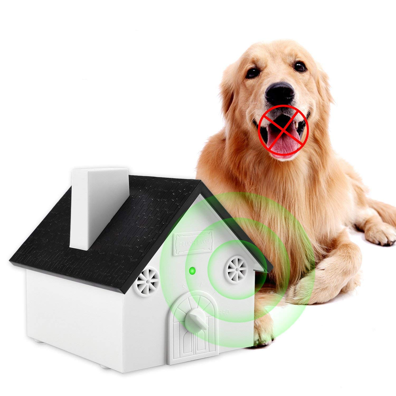 WEIJI Ultrasonic Outdoor Bark Controller Dog Anti-Barking Device Sonic Bark Deterrents Training Tool Safe Dogs Pets Human Hanging Birdhouse Shape up to 50 Feet Range