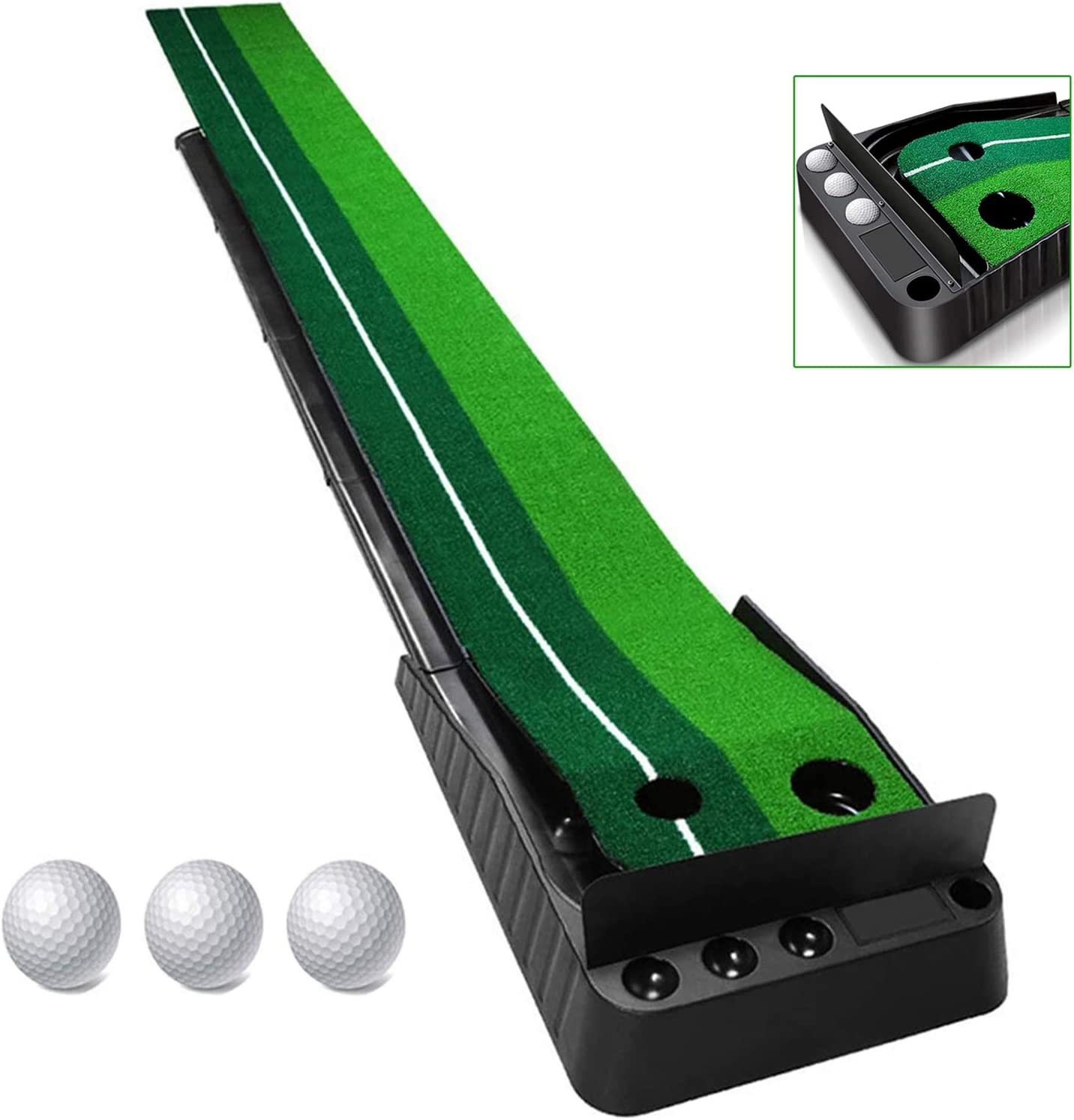 MIZIKUSON Indoor Golf Putting Green, Portable Travel Golf Balls Mat with Baffle Plate Auto Ball Return Function Golf Practice Putting Mat Training Aid Equipment for Home Office Use