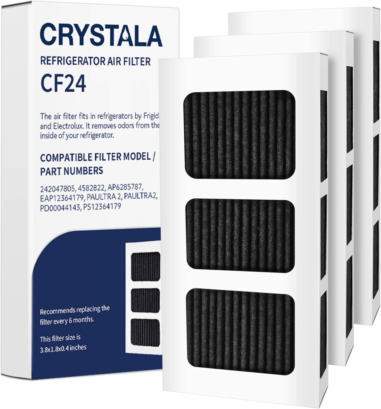 Crystala Filters PAULTRA2 Air Filter compatible with Frigidaire PureAir Ultra II Air Filter AP6285787, EAP12364179 Refrigerator Air Filters (3 Pack)