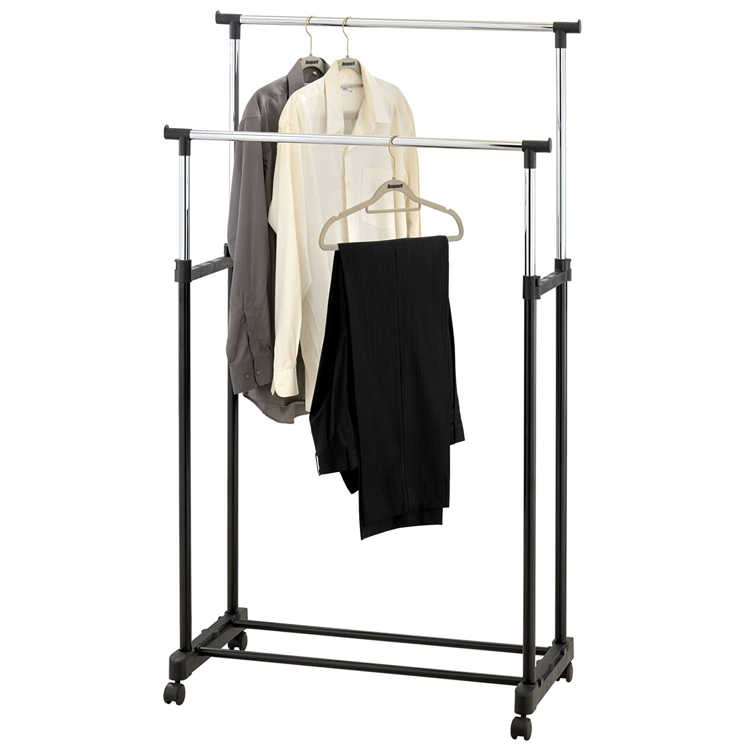 AMOS Double Adjustable Height Garment Clothes Dress Coats Jackets Hanging Rail Rack Storage Display Stand on Castor Wheels with Shoe Shelf