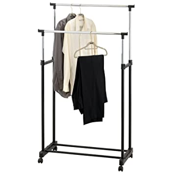 AMOS Double Adjustable Height Garment Clothes Dress Coats Jackets Hanging  Rail Rack Storage Display Stand On