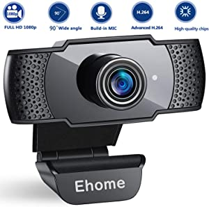 1080P Webcam with Microphone USB 2.0 PC Laptop Desktop Web Camera for Video Calling Studying Online Class Conference Recording, Gaming with Rotatable Clip (Renewed)