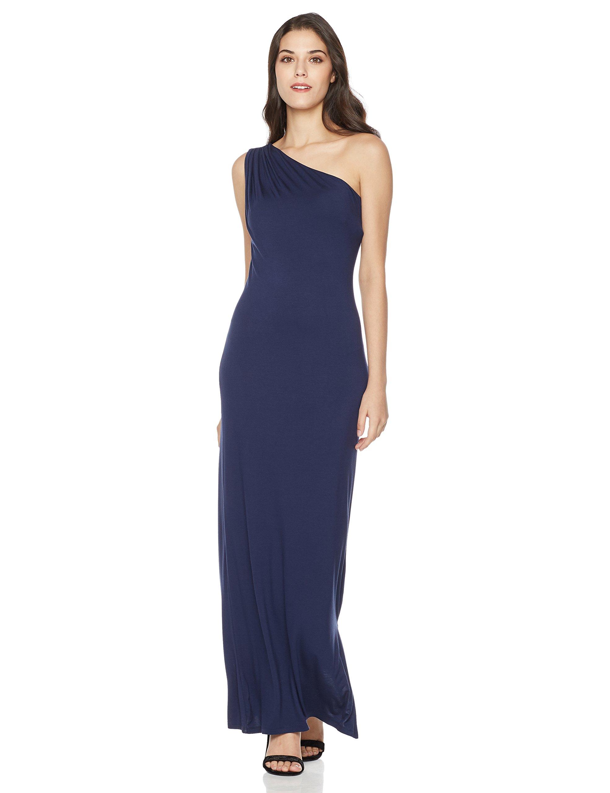 Mariella Bella Women's Oblique Off Shoulder Knit Maxi Dress - Navy - Large