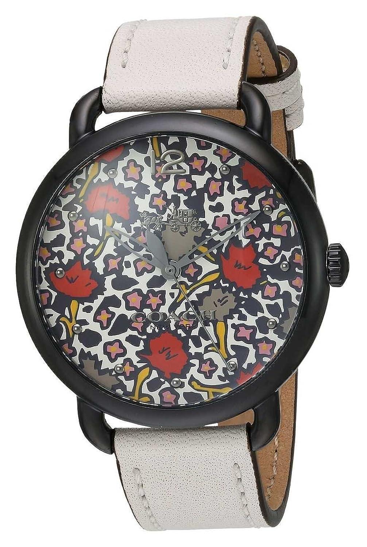 Coach Womans delancy Uhr weißes Lederband gemustertes Zifferblatt 14502729