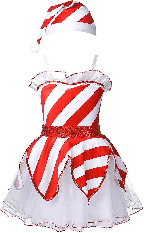 Doomiva Kids Toddlers Girls Sleeveless Mesh Tutu Dress with Hat Set Ruffle Ball Gowns Christmas Party Costumes