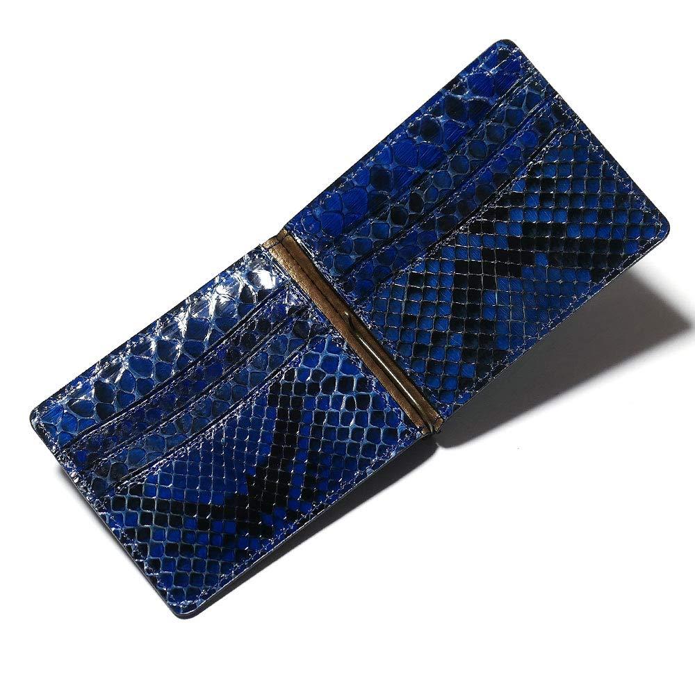 AIZOME-NC1040 札ばさみ マネークリップ メンズ レディース 薄型 蛇革 パイソン革 ヘビ革 無双仕様 カード収納 グレージング 藍染 B07SBSS664