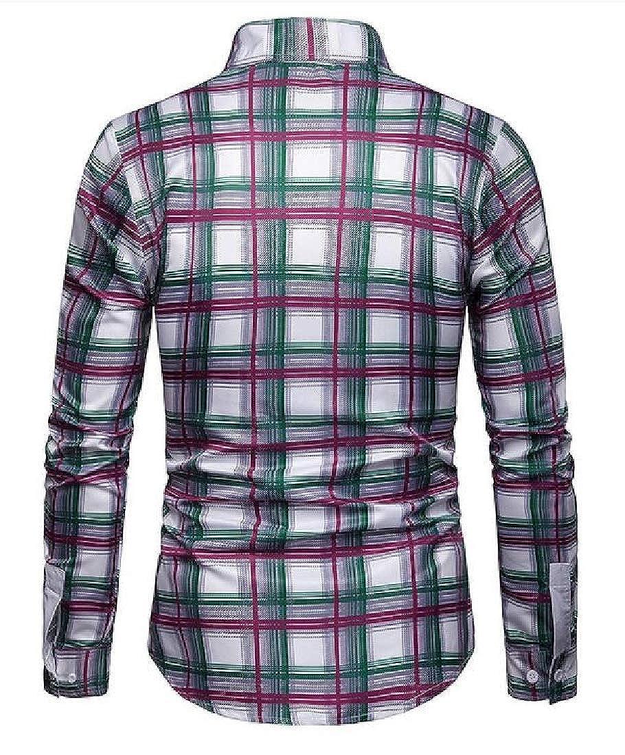 X-Future Mens Casual Long Sleeve Checkered Slim Business Button Down Dress Work Shirt
