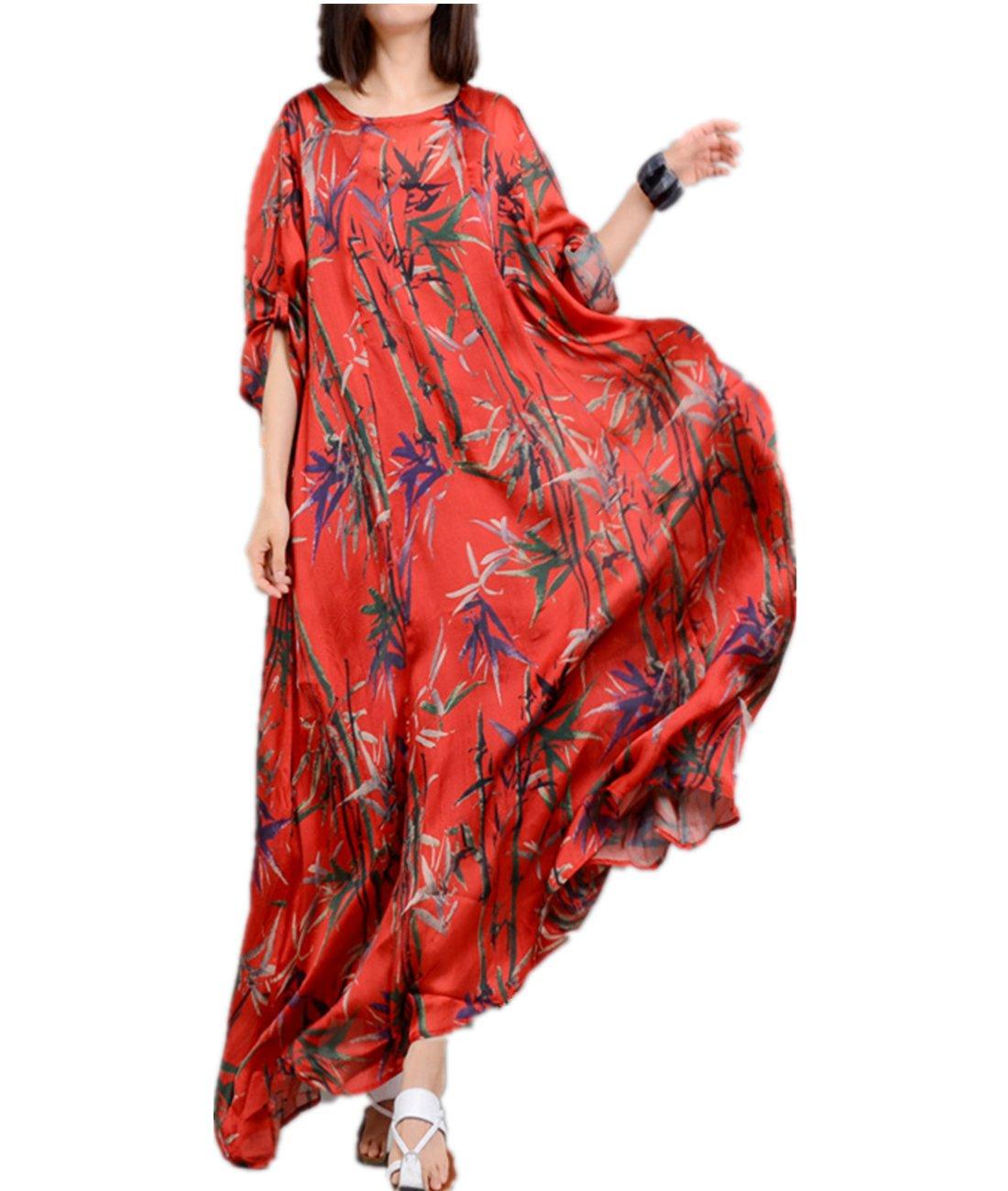 YESNO JO1 Women Long Loose Maxi Swing Dress 100% Silk Bohemia 'Bamboo' Printed Roll-up Sleeve