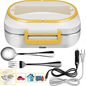 Heated Lunch Box, 110V&24V Portable Electric Lunch Box Food Heater With Removable Stainless Steel Container - Spoon And Fork With 3 Compartments, Warming 2 in 1 Food Warmer For Car, Home Use (24V)