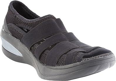 Frill Peep Toe Walking Shoe, Black Mesh
