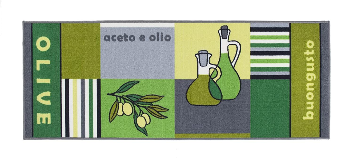 Andiamo Kitchen rug olive tomato lemon, non slip runner, washable, durable, rubber back, three designs, in various sizes, Colour:Olive, Size:57x120cm