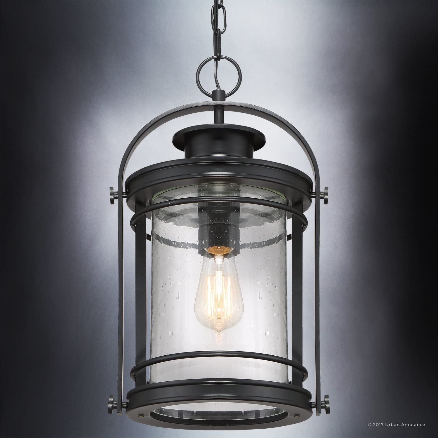 Luxury Midcentury Modern Outdoor Pendant Light Medium Size 18 H X 10 5 W With Craftsman Style Elements High End Black Silk Finish And Seeded Glass Includes Edison Bulb Uql1011 By Urban Ambiance Amazon Com