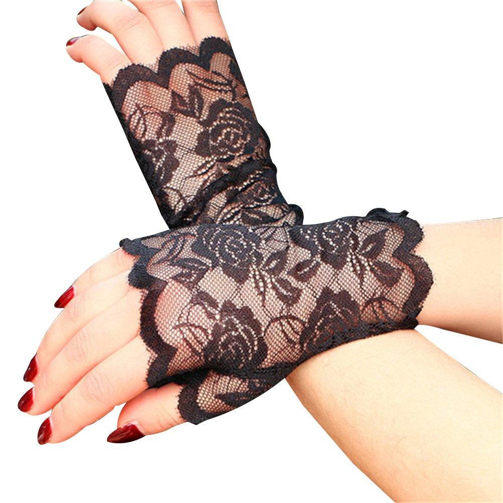 BESTOYARD 2 pezzi donne mezza mano guanti corti protezione UV guanti senza dita blocco solare per la guida (nero)
