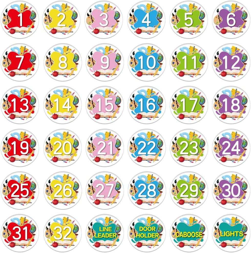 SICOHOME Numbered Spot Markers and Labels,36pcs,4 Sitting Classroom Floor Mark Spots for Preschool Kindergarten Elementary Teachers Kids Educate