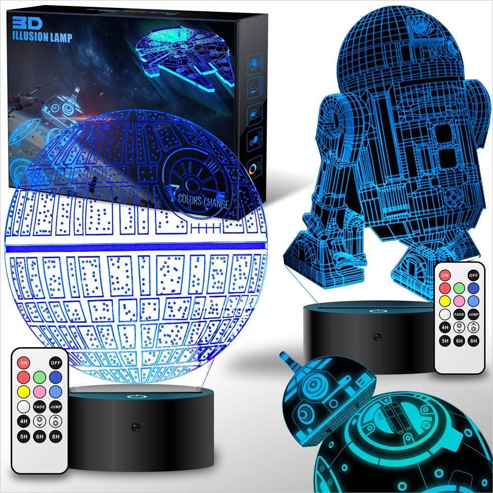 Lámpara de ilusión 3D de Star Wars, luz nocturna LED para niños, 4 ...