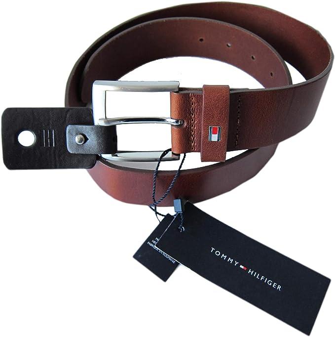 Tommy Hilfiger New Denton Mens Leather Belt Chocolate Brown