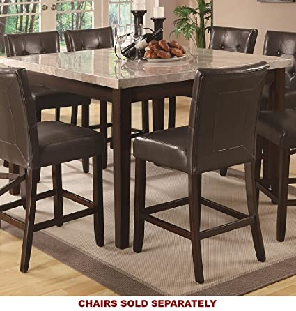Coaster Home Furnishings Milton Modern Transitional Real Marble Top Counter  Height Dining Table   Cappuccino