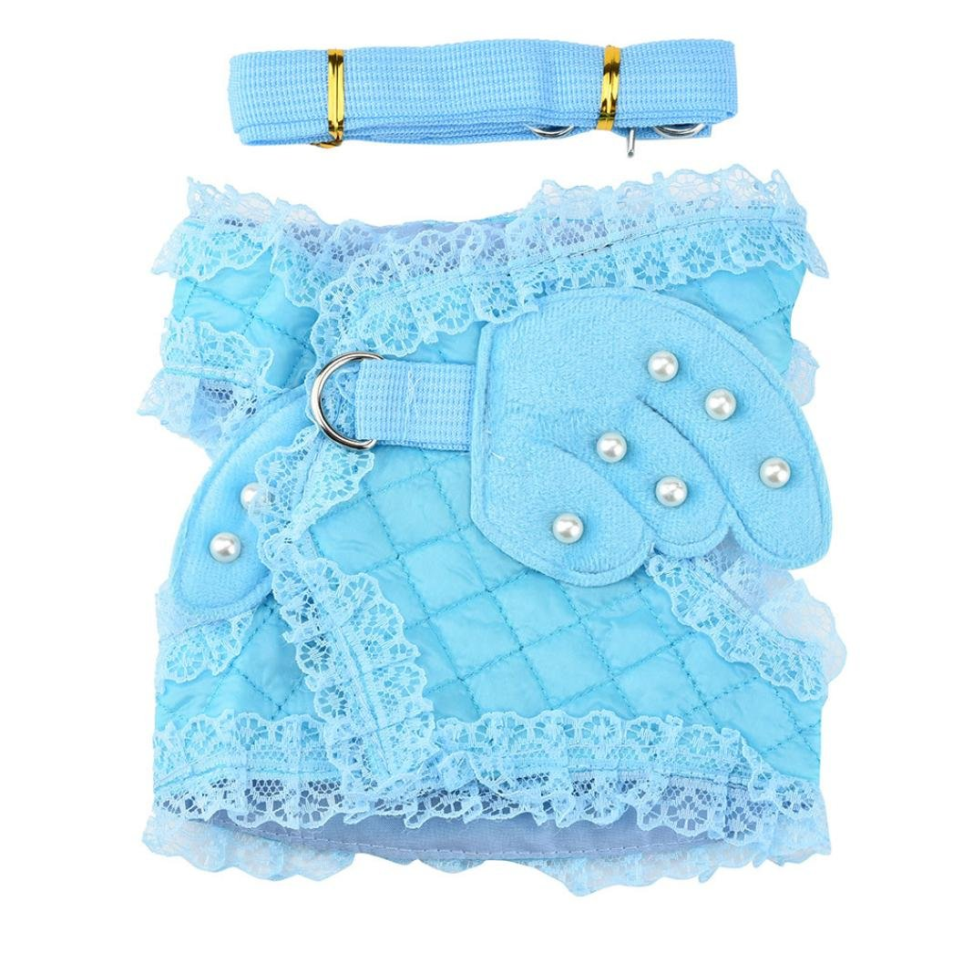 S, Blue Smdoxi Couture Designer Pet Accessory Angel Wing Harness with Leash