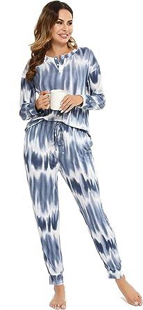 Vlazom Conjunto de Pijamas para Mujer, Parte Superior de Manga Larga, Pijama Suave y Parte Superior a Cuadros S-XXL