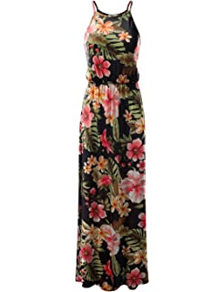 fb047396f CLOVERY Women's Summer Floral & Solid Print Dress Tank Long Maxi Dresses